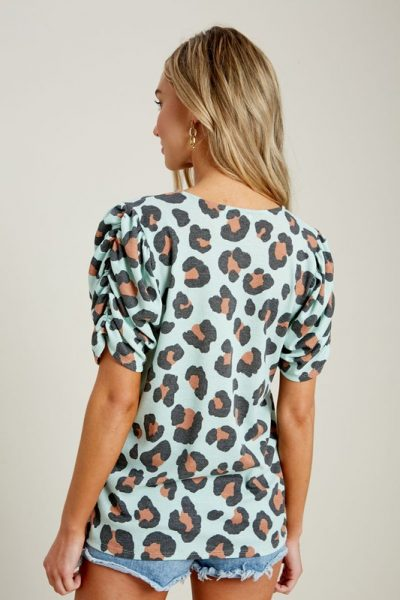 Sage Puff Sleeve Animal Print Thermal