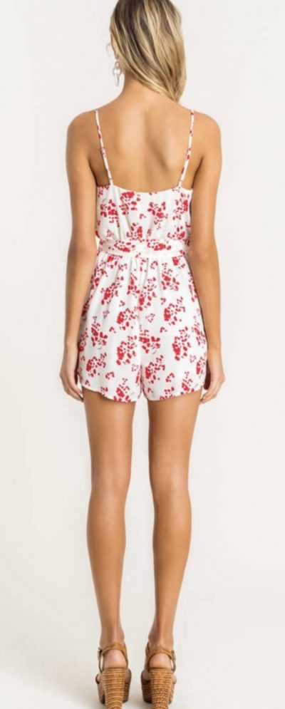 Red and White Surplice Romper
