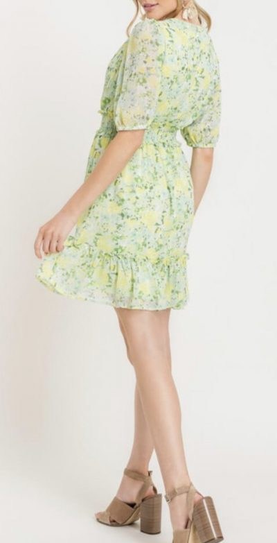 Floral Green & Yellow Dress