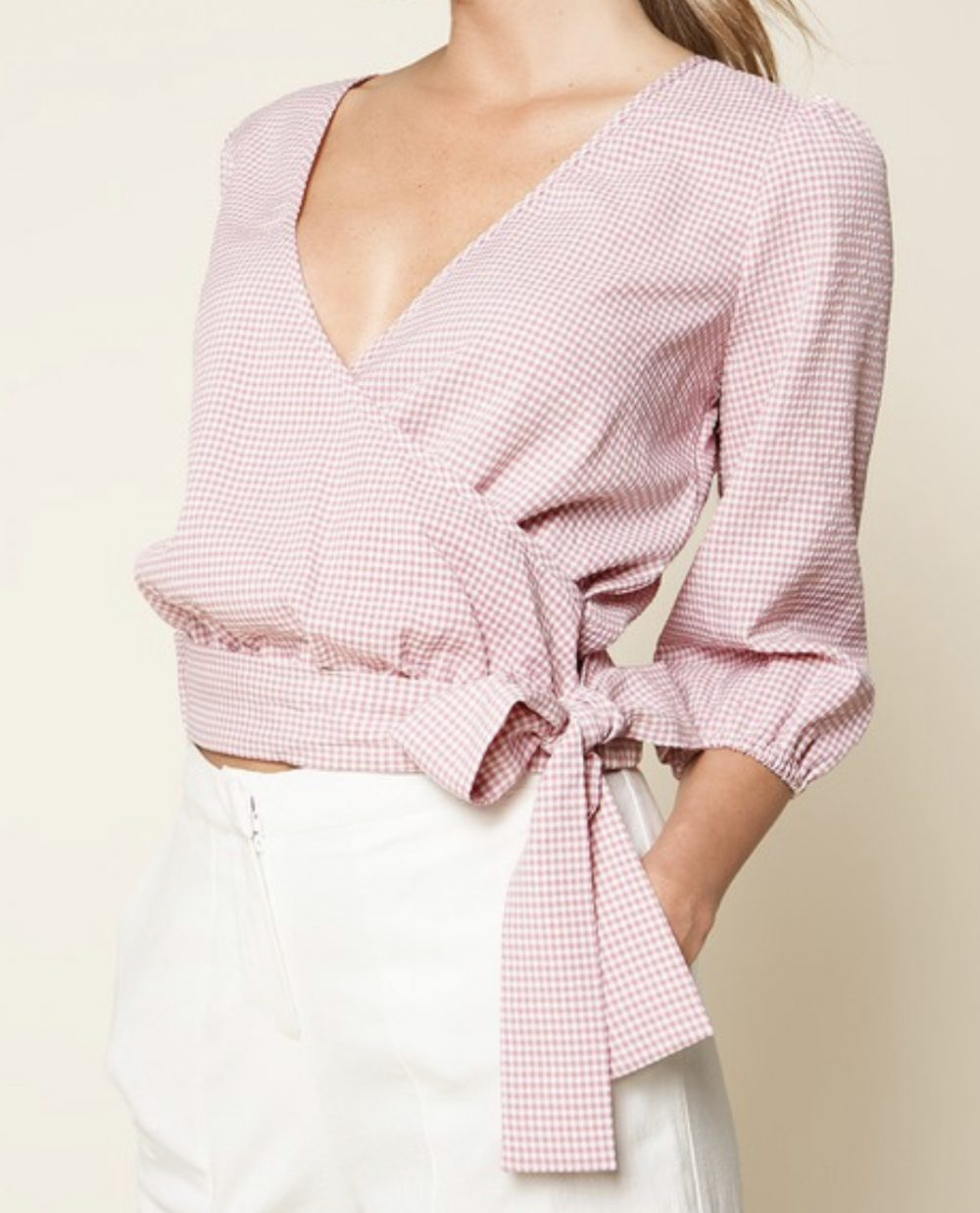 Rose Side Tie Wrap Top
