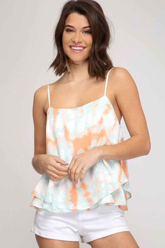 Blue Orange Tie Dye Tank