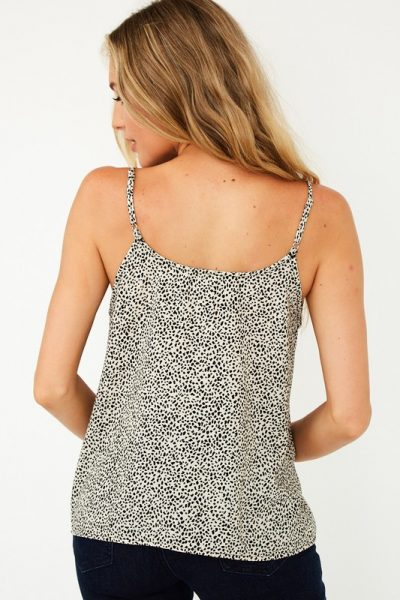 Black & White Printed Button Tank Top