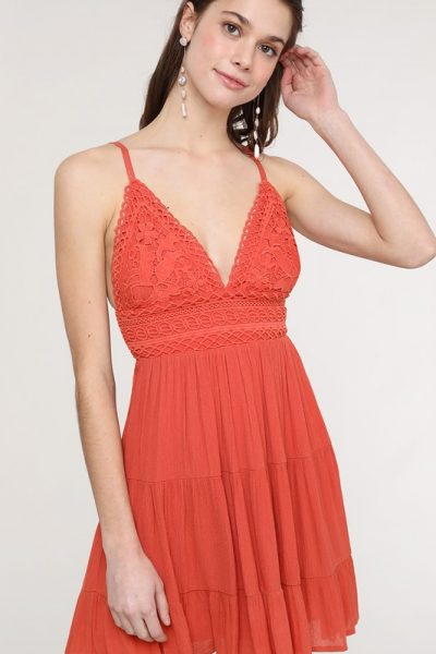 Rust Lace Bodice Dress
