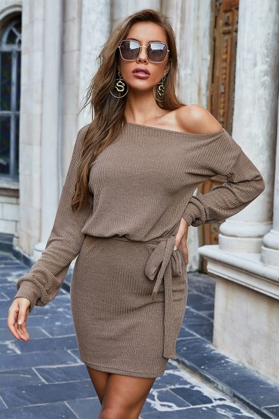 Long Sleeve Camel Mini Tie Dress