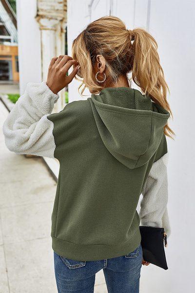 Olive Faux Fur Sleeve Hoodie
