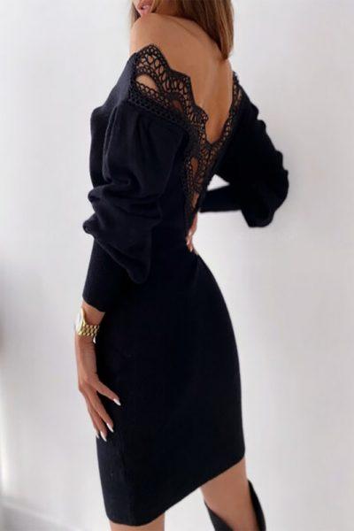 Lace Back Black Dress