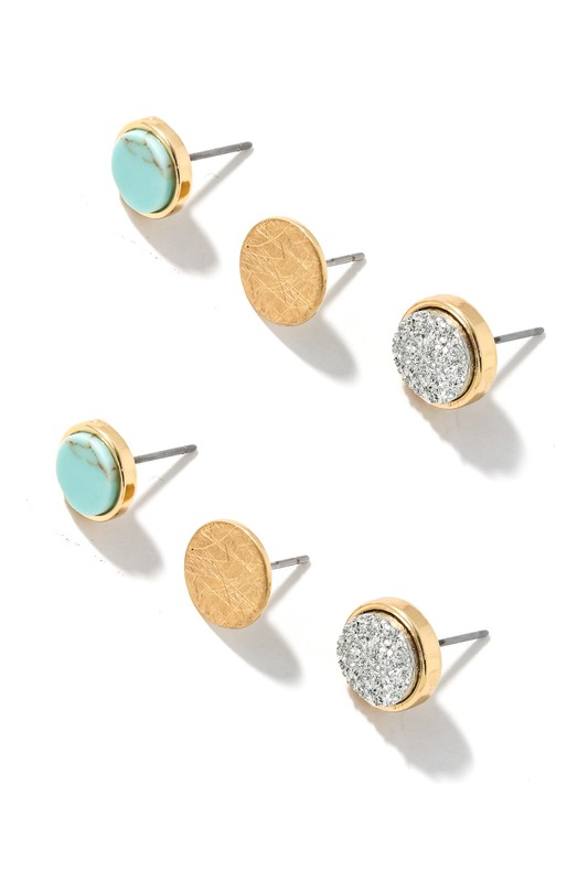 Turquoise, Gold and Silver Large Disc Stud Pack