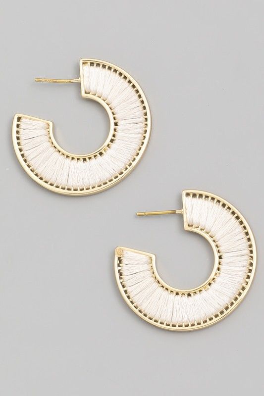 White Mini Threaded Hoop Earrings